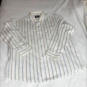 ARROW Kent Striped LS Button Down White EUC